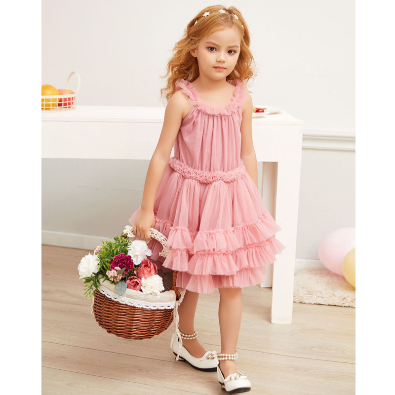 2019 Summer Solid Color Lace Gauze Tutu Princess Dress Baby Birthday Party Fairy Girls Fluffy Dresses For Children Clothes 2 8Y in Dresses from Mother Kids