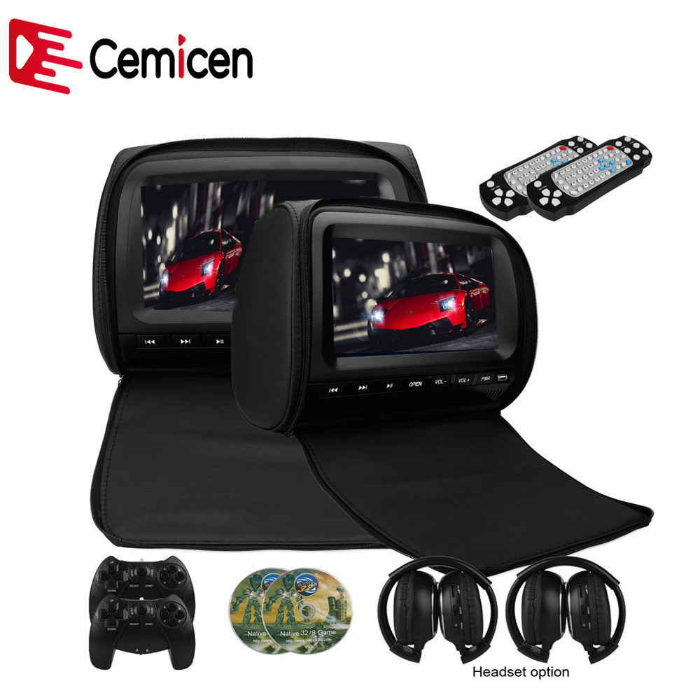 Cemicen 2PCS 9 Inch Car Headrest Monitor DVD Video Player 800*480 Zipper Cover TFT LCD Screen Support IR/FM/USB/SD/Speaker/Game(China)