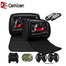Cemicen 2 יחידות 9 inch רכב משענת ראש צג DVD נגן וידאו 800*480 רוכסן כיסוי TFT LCD מסך תמיכה IR/FM/USB/SD/רמקול/משחק