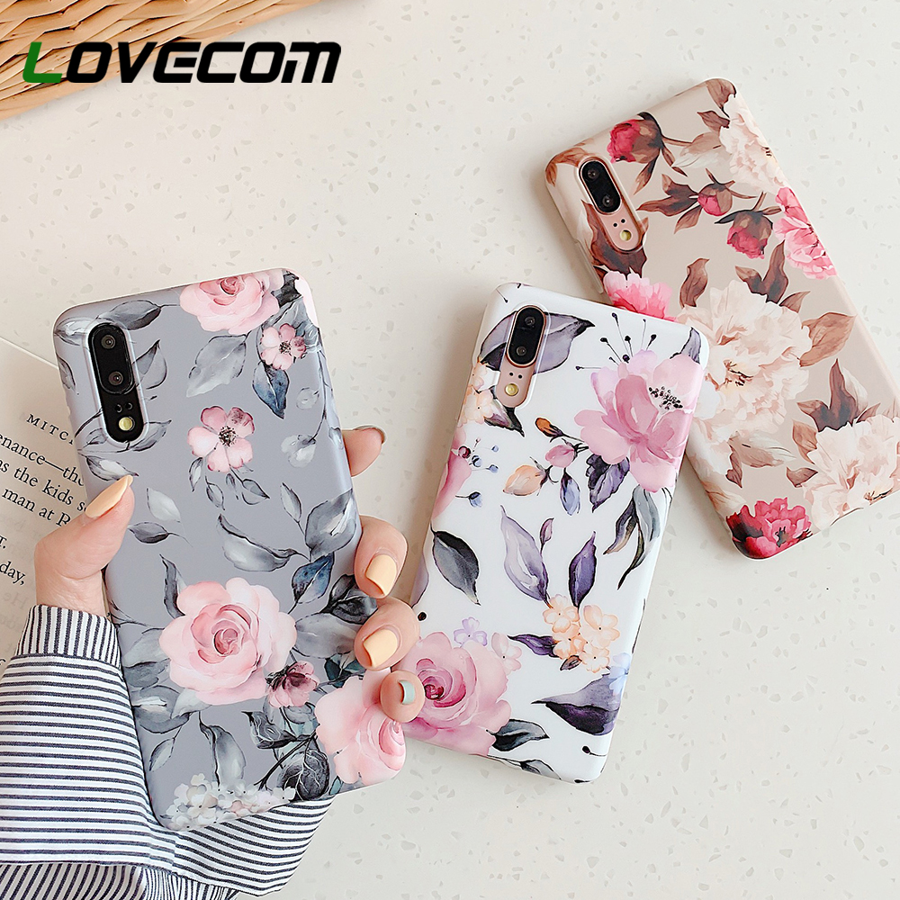 Retro Floral Leaf Phone Case With Holder For Huawei P40 Pro P20 P30 Lite P20 P30 Pro Mate 20 30 Lite Case Soft IMD Phone Cover(China)