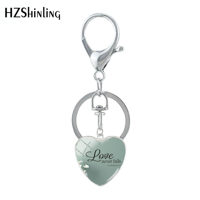 2019 New Heart Keychain Love Never Fails 1 Cor. 13:8 Bible Quote Keyring Classic Quete Glass Pendants Jewelry