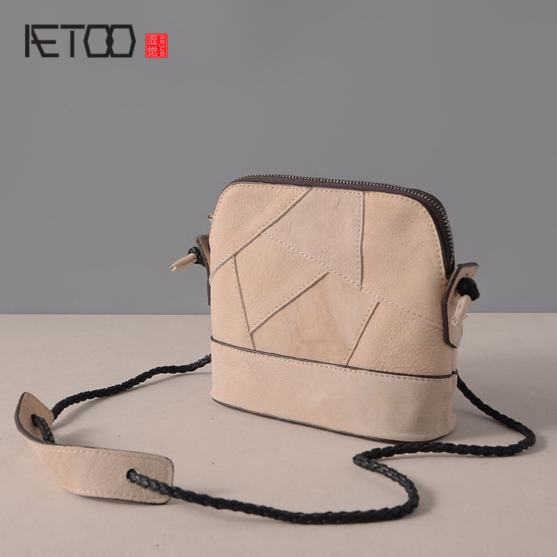 AETOO New leather handbags retro fashion casual shoulder Messenger bag cowhide shell bag small bag jialante 2017 new lizard leather bag is made of simple small shell bag customized for 15 days
