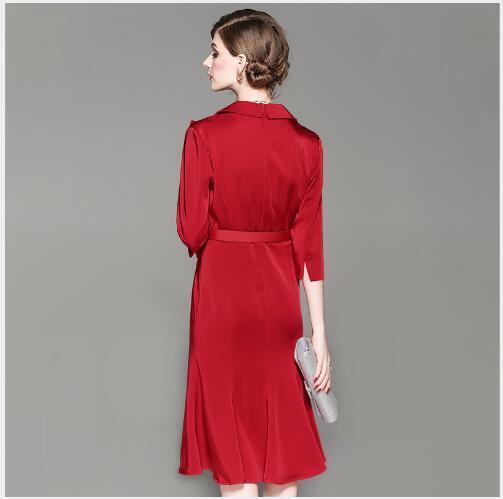 Automne Mode Nouveau Longue Longues Outwear De Femmes À Casual Fit Robe Slim Femelle Solide Tournent red Manches Le Bas Black 2018 Vers Section qnfTntAF