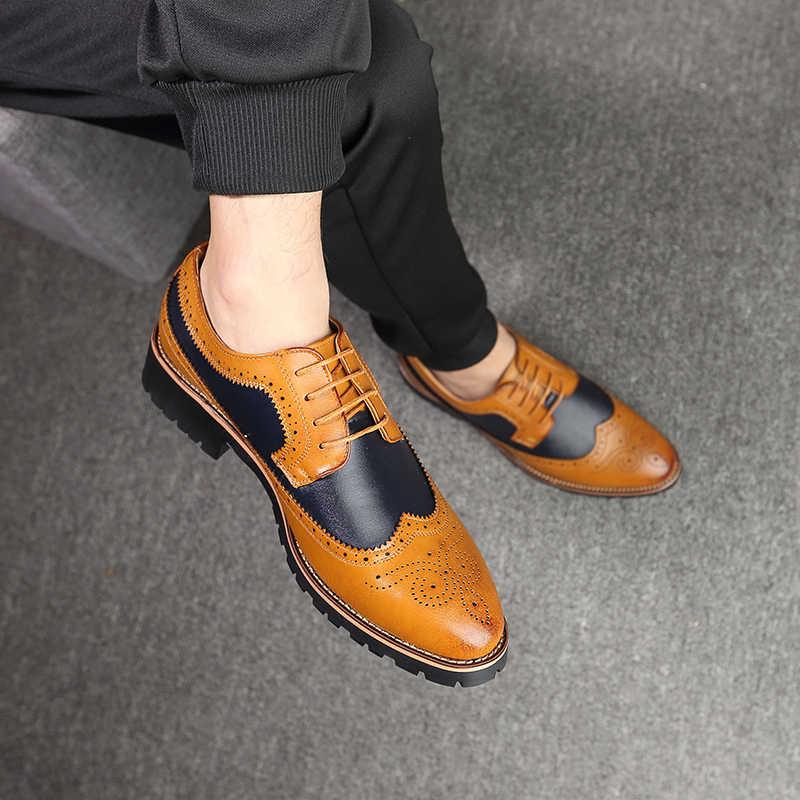 2019 オックスフォードシューズメンズ Brogues 靴レースアップ牛ビジネスウェディングドレス靴男性のフォーマルな靴