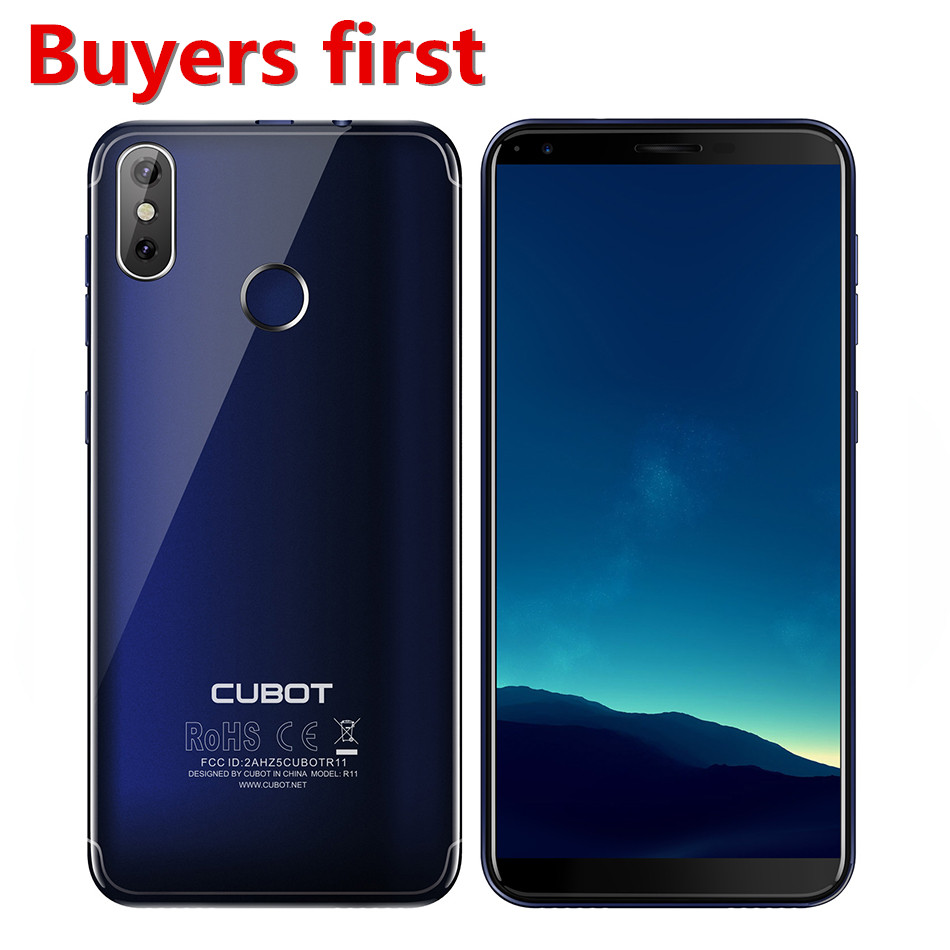 Original Cubot R11 5.5 ''18:9 + écran RAM 2GB ROM 16GB Smartphone MT6580 Quad Core Android 8.1 empreinte digitale 13.0mp téléphone portable - 1