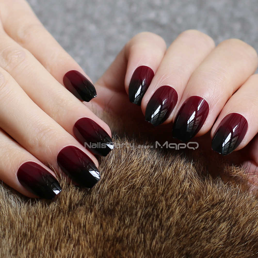 Coffin Gradient red black fake nails Acrylic nude medium False nails point  Tip 24pcs full sets Natural ballet simple