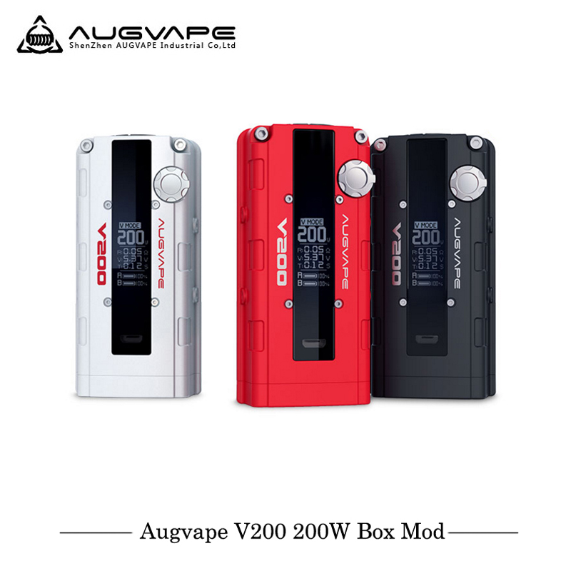 New Arrival Augvape V200 Mod Electronic Cigarettes 200w Box Mod Power by 2pcs 18650 battery 510 connector Vape Vaporizer vermeiren v200