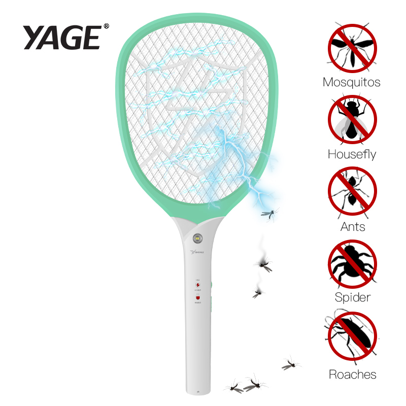 YAGE eléctrica mosca trampa Mosquito Killers Pest Control Bug Zapper rechazo raqueta trampa 2200 v descarga eléctrica usb anti-moustique 1200 mah