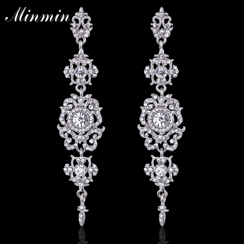 Minmin Silver Color Crystal Wedding Long Earrings Floral Shape Chandelier Earrings for Women Brides Bridesmaid EH182
