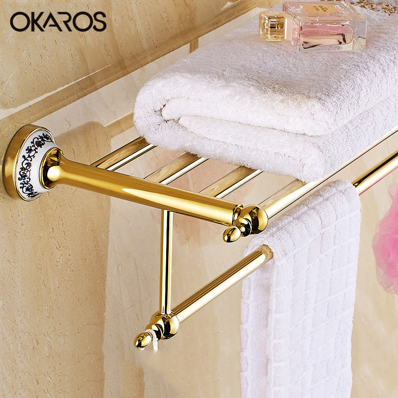 OKAROS Towel Rack Holder Towel Shelf Tower Rail Towel Hanger Stainless Steel Golden Chrome Ceramic Decoration Bathroom Shelves modern chrome fixed bath towel holder with hooks stainless steel towel rack holder for hotel or home bathroom storage rack shelf