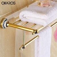 OKAROS Towel Rack Holder Towel Shelf Tower Rail Towel Hanger Stainless Steel Golden Chrome Ceramic Decoration Bathroom Shelves