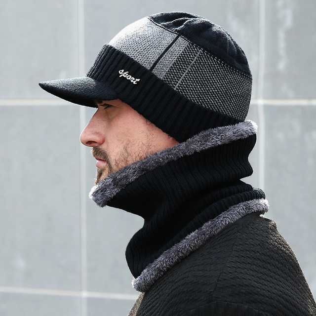 Beanie Winter Wool Scarf Knitted Hat 1