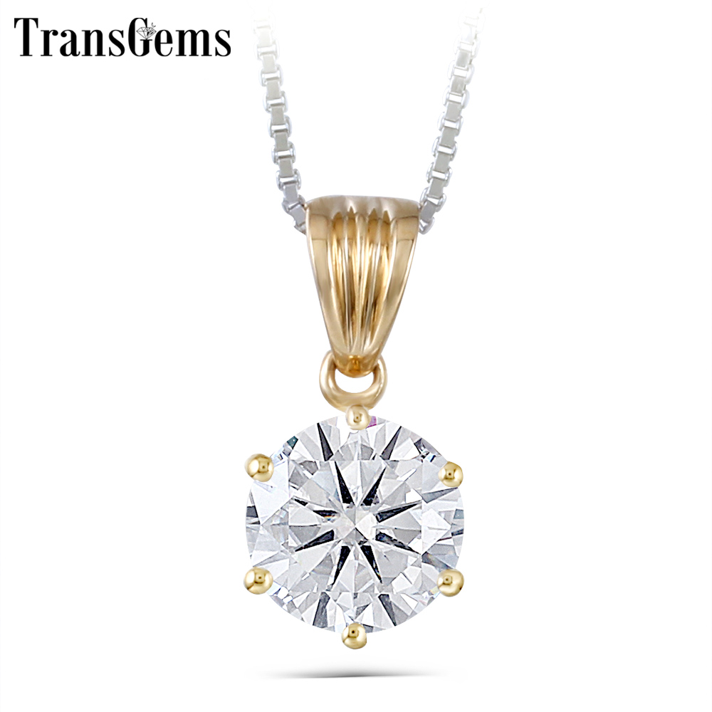 TransGems 1 Carat Lab Grown Moissanite Diamond Solitaire Slide Pendant Solid 18K Yellow Gold for Women Wedding Birthday Gift transgems 18k white gold 0 5 carat 5mm lab grown moissanite diamond solitaire pendant necklace for women jewelry wedding