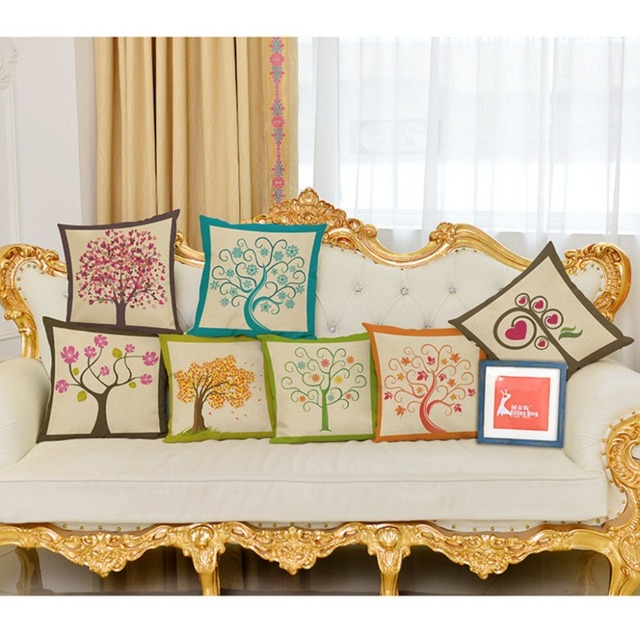 Concise Season Life Floor Cushion Cover Spring Summer Trees ...
