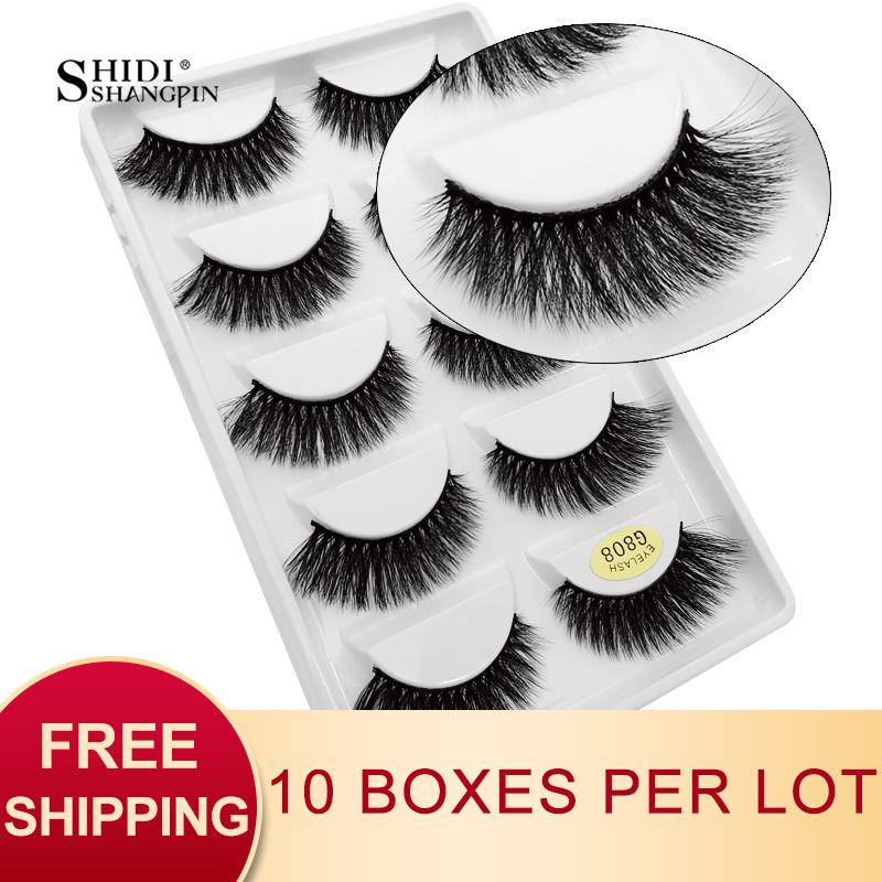 SHIDISHANGPIN 50 Pairs Natural Long False Eyelashes Fluffy 3d Mink Lashes Make Up 100% Cruelty Free Fake Eyelash Faux Cils G808