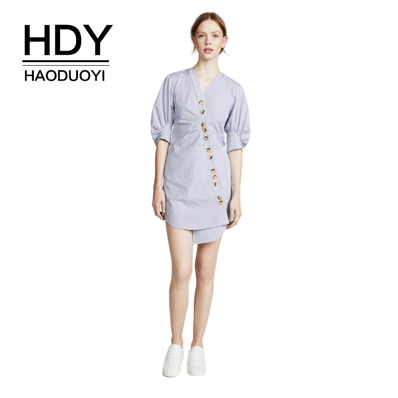 HDY Haoduoyi Button Down Wrap Shirt Dress V Neck Short Puff Sleeve Stripe Asymmetric Slim Mini Dress for Female
