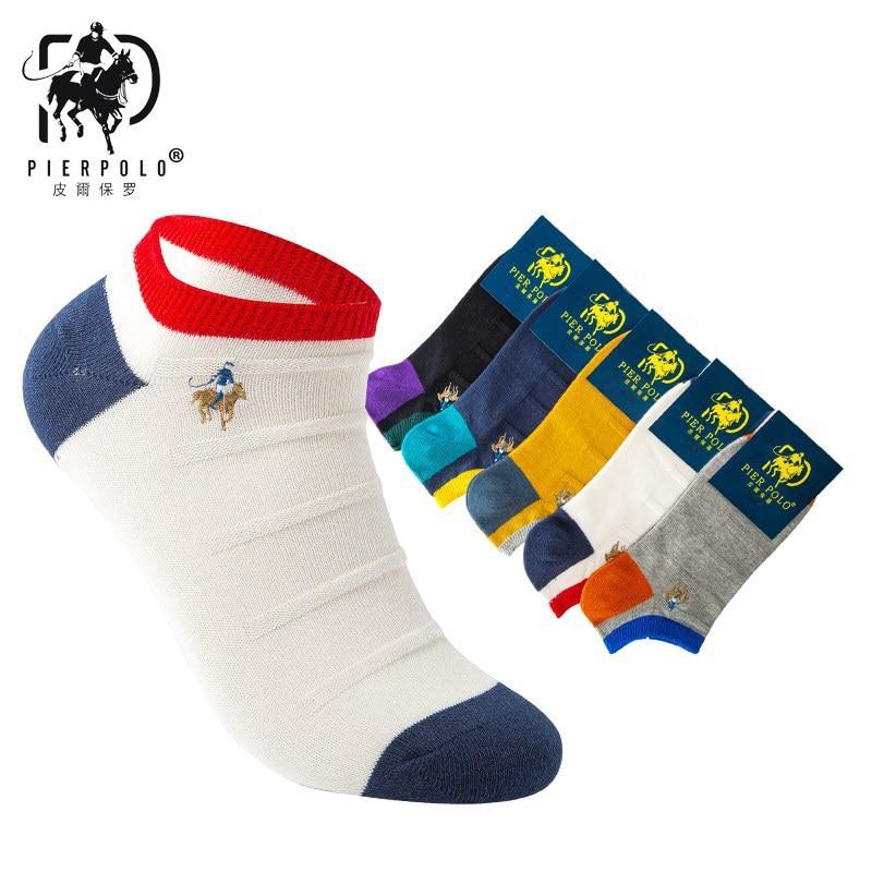 5pairs/LOT No Box Men's Cotton Men's Block Patchwork Runner Socks Business PIER POLO Logo Embroidered Men's Sock Mens Socks