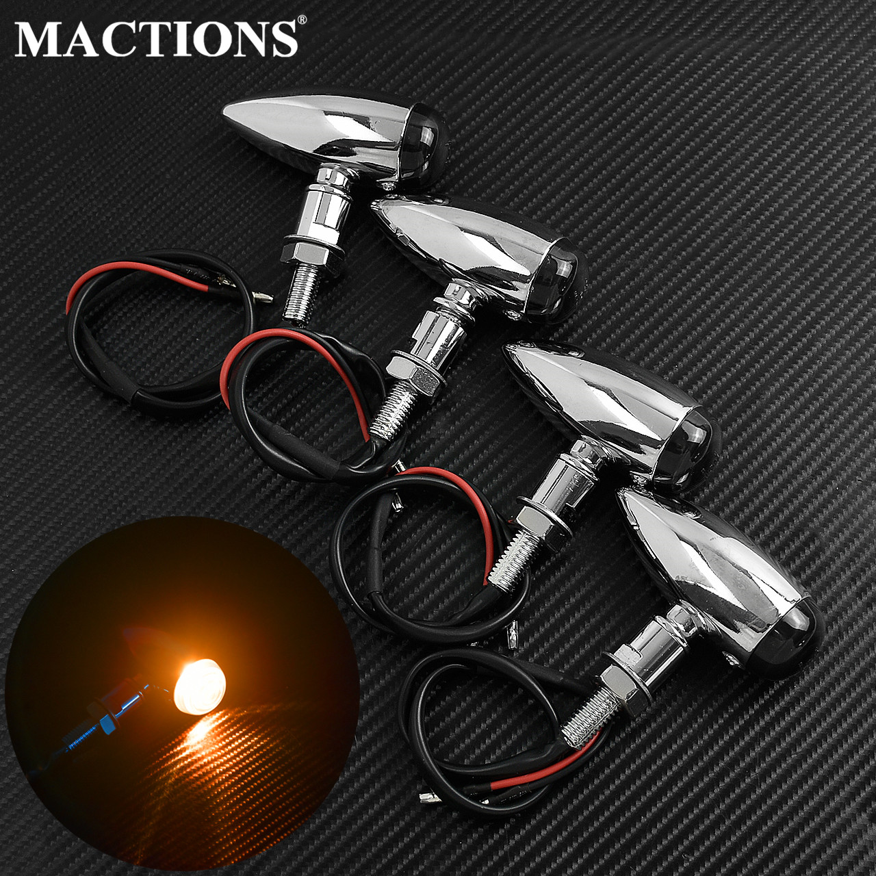 Universal Motorcycle EM Bullet Turn Signal Indicator Light Chrome Lamp 12V For Harley Touring Sportster Mini Bobber Chopper