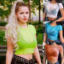 Sexy Women Sheer Mesh Fish Net Short Sleeve Bodycon See Crop Top T-Shirt Summer Mesh Sheer Prespective Candy Color Solid T shirt(China)