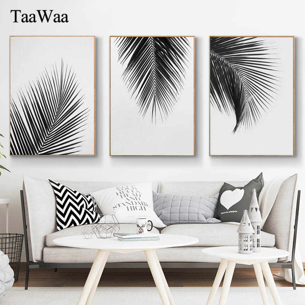 TaaWaa Black White Plant Leaves Posters and Prints Minimalist Palm Tree Wall Art Canvas Painting Picture for Living Room Decor