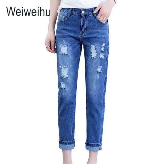5cef9ebdf4 Jeans Mujer 2018 alta cintura tobillo-longitud Pantalones azul clásico  Ripped señoras Jeans Slim Mujer