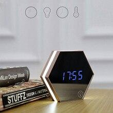 Coquimbo światło nocne z budzikiem czujnik dotykowy USB akumulator lampka nocna z wielofunkcyjny płaskie lustro wbudowana bateria