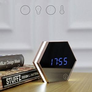 Image 1 - USB לילה אור עם חיישן מגע שעון מעורר בקוקימבו הלילה מנורה עם מראה שטוח רב תכליתי נבנה בסוללה נטענת