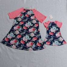 Cutyome Mother Daughter Dresses Short Sleeve Floral Patchwork Stripe Mom and Me Dress 2017 New Mom Daughter Family Look Matching