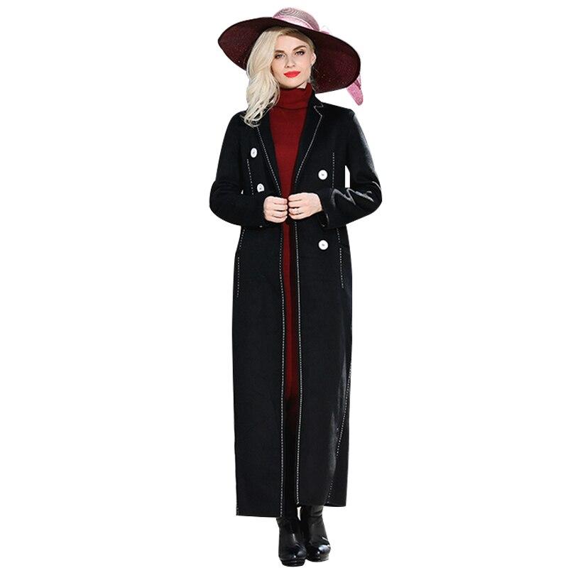 S-XXXL calidad superior negro de lana abrigo de invierno nuevo diseñador de  moda breasted larga Maxi más el tamaño de la chaqueta 5722 ff7de7c09ac
