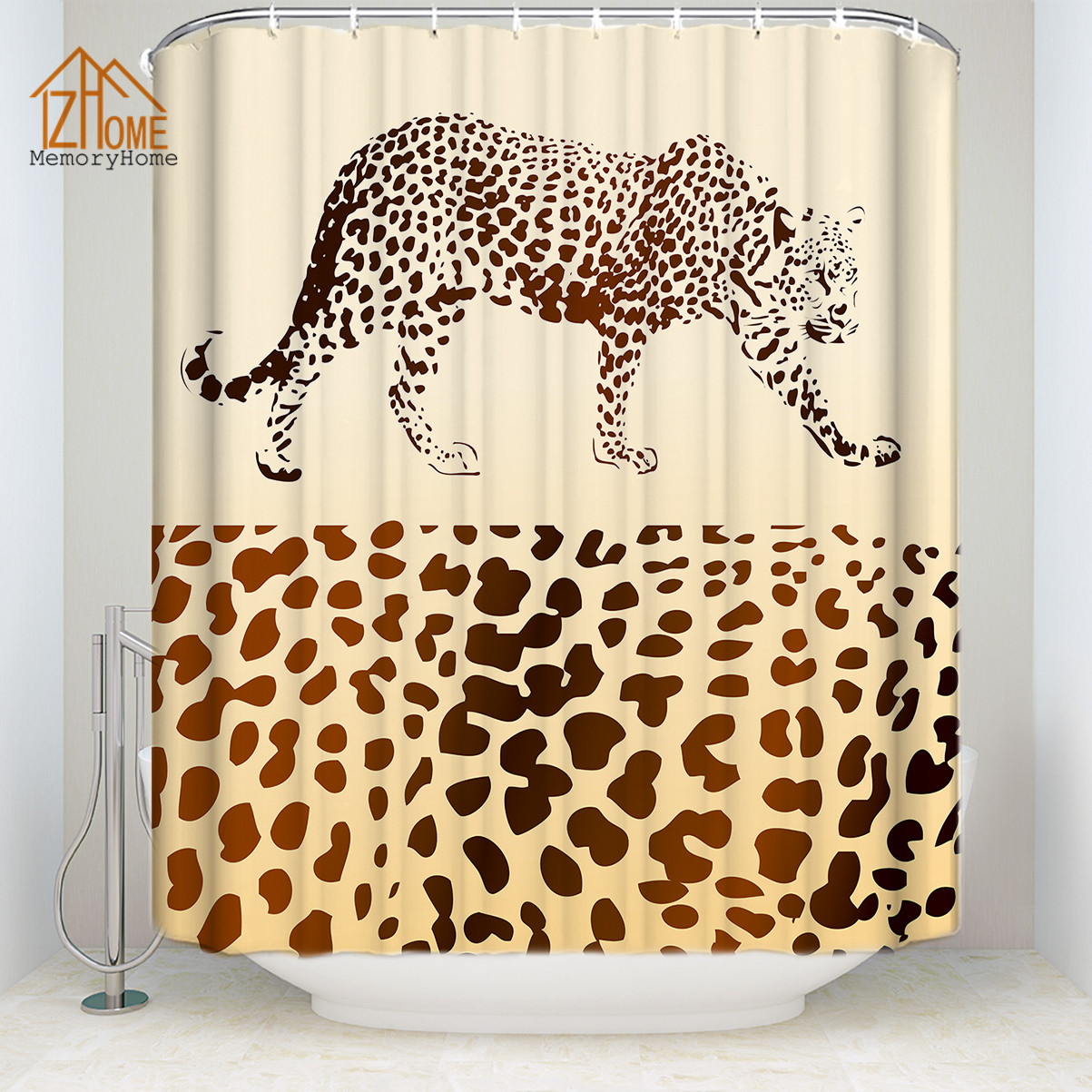 Memory Home Wild Animal Print Leopard Shower Curtain Multi Size Waterproof Polyester Fabric Bathroom Decor Free Shipping