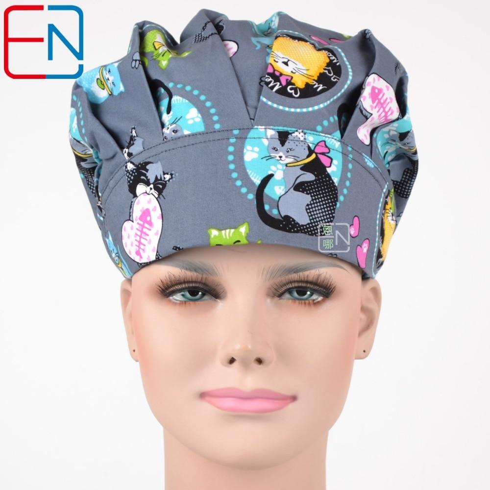 Novinka Chirurgické čepice pro lékaře a zdravotní sestry Kočka světa 02 čepice