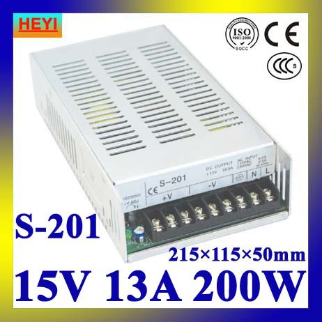 single output switching power supply 15V 13A 100~120V/200~240V AC input LED power supply 200W 15V transformer led power supply 24v 25a 100 120v 200 240v ac input single output switching power supply 600w 24v transformer