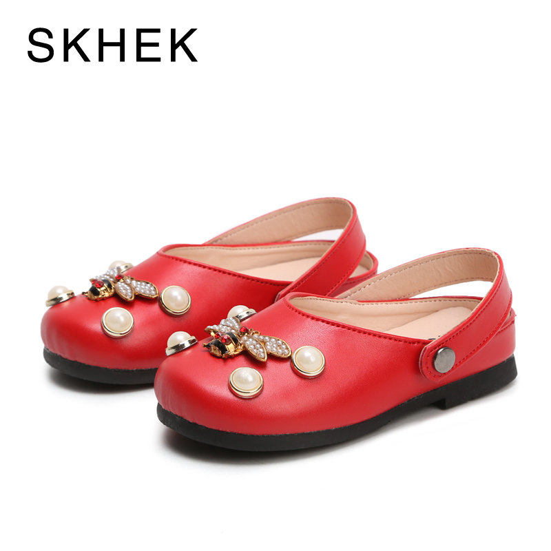 SKHEK Children Kids For Girls Shoes Sandals Fashion Cute Princess Sandals Pearl Rhinestone Princess Shoes Girls Sandals PU M806