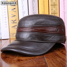 XdanqinX Cowhide Leather Hat Mens Flat Cap Genuine Army Military Hats Autumn Winter Fashion Warm Earmuffs Dads