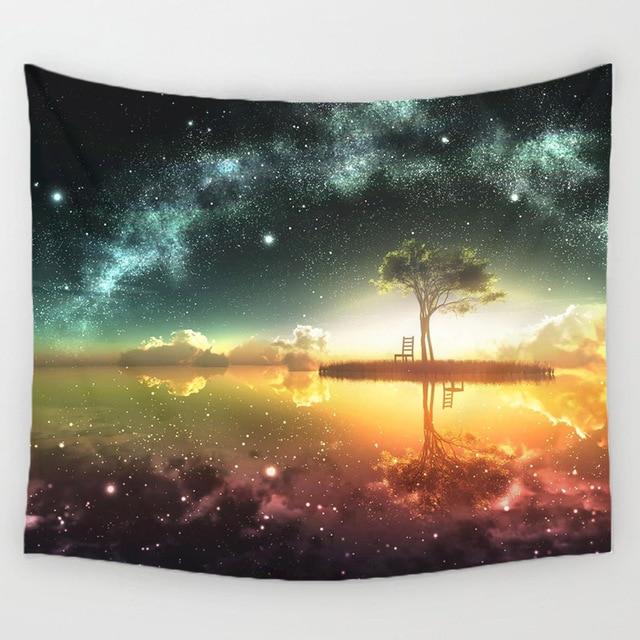 150*130 noche escénica tapicería pared colgante decoración estrella planta impreso alfombra Home Decor colgante Living impresión tapicería de pared