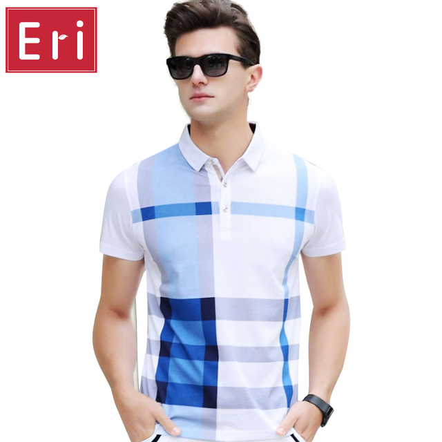 2017 Summer Men Polo Shirts Plaid Short Sleeve Cool Mercerized Cotton Slim Fit Casual Business Mens Shirts Brand POLO 3XL X361