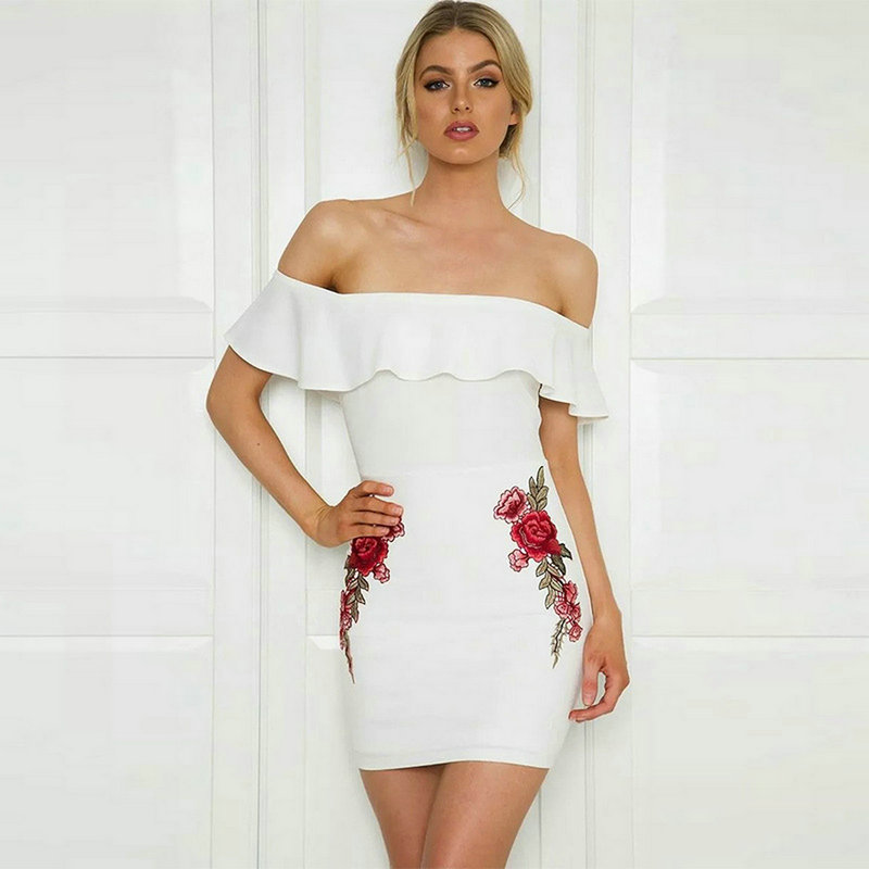 08957f27eb54 2017 Sexy Floral Embroidery Strapless Women Ruffle Dress Backless Bodycon  Zipper Hips Push up Girl Ladies Dresses XXL Plus Size-in Dresses from  Women's ...