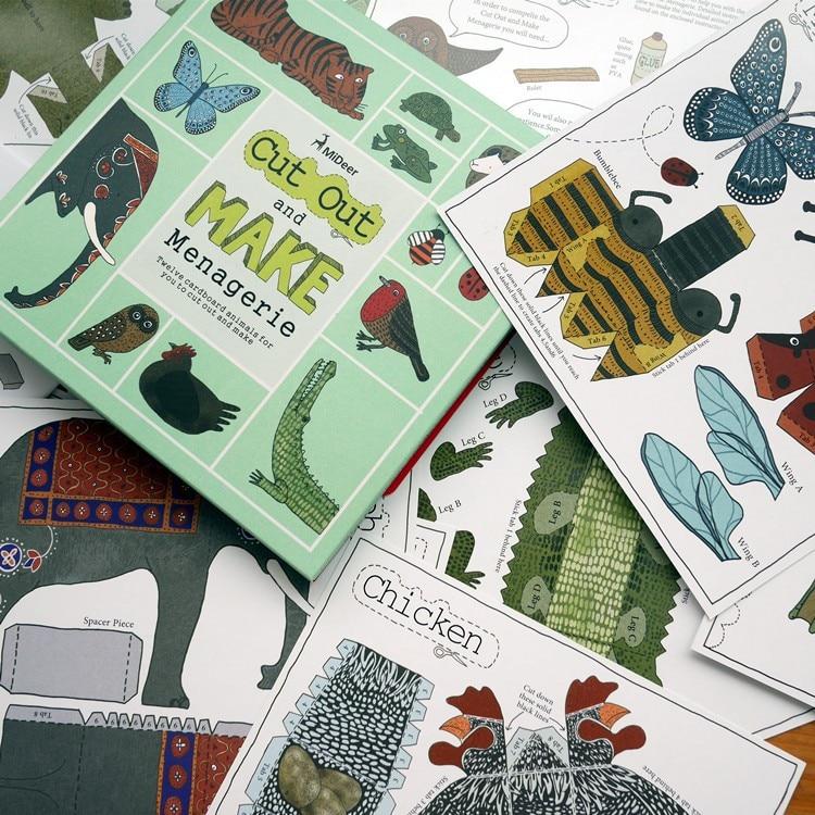 12pcs / pack životinja kartona 3D zagonetke / DIY rezati knjigu / - Igre i zagonetke - Foto 6