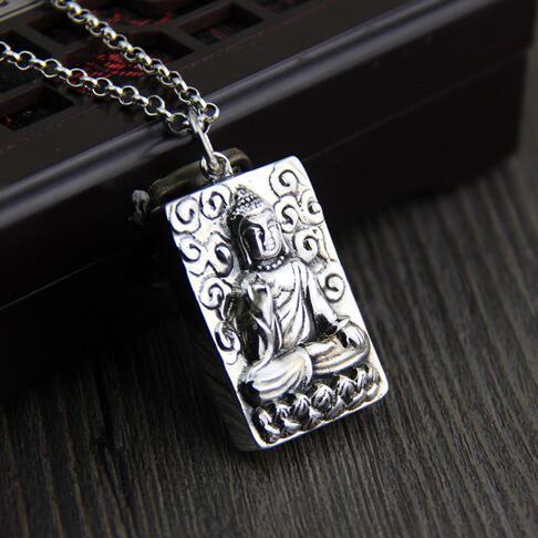 Handmade 925 silver Sakyamuni Buddha Statue pendant tibetan buddha pendant Buddhist Buddha Statue Amulet Pendant new 925 silver tibetan medcine buddha thangka pendant necklace pure silver tibetan medicine buddha necklace pendant