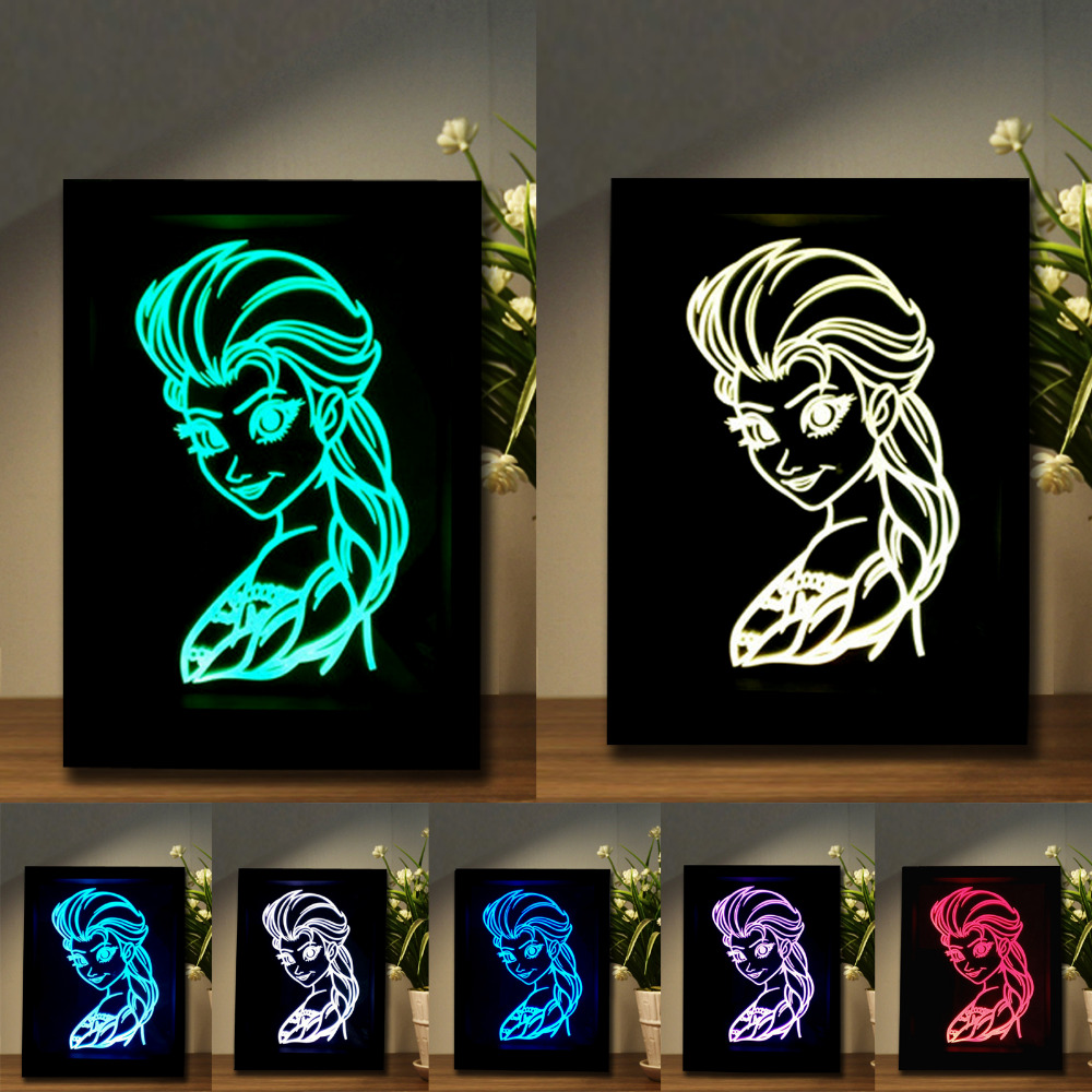 Luminaria Creative Ice Snow Queen Essar Princess LED Photo Frame Remote Control/Touch Switch 7 Color Change Night Lights Lamps mexx ice touch woman