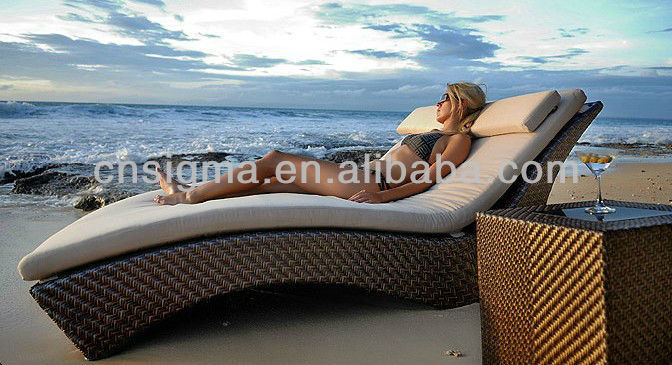 2017 Natural Look Rattan Outdoor Furniture Chaise Lounge Daybed