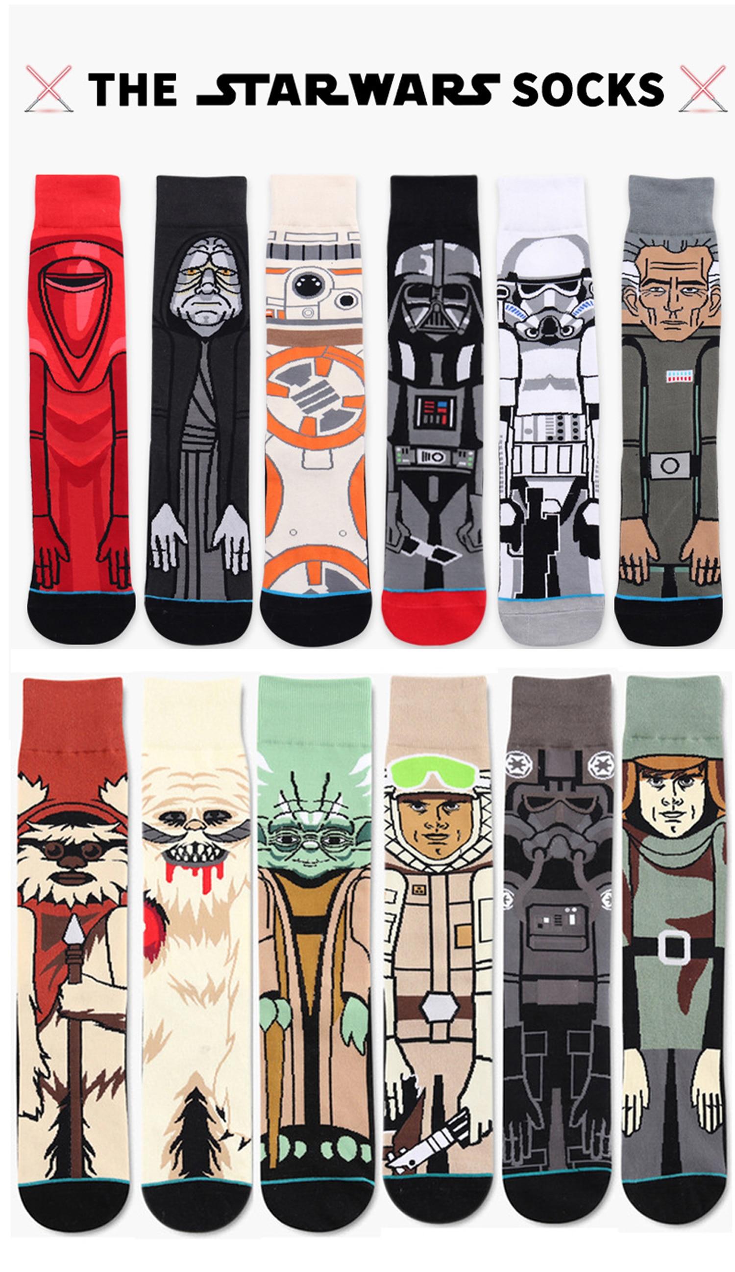 HIMEALAVO 2018 Star Wars Sale Hot Autumn And Winter New Cartoon Funny Men Socks Stockings Planet Battle Vader Socks