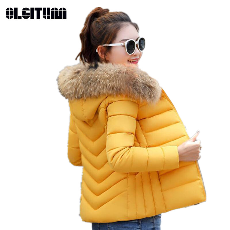 Winter Women's Short   Parkas   Slim Coat New Design Lady   Parkas   Thick Solid Color Female   Parkas   Coat Large Size M-5XL CC699