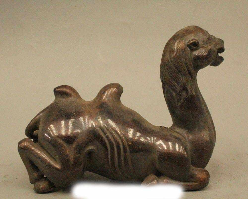 """4 """"Adorável China Chinese Bronze Deitado Esculturas Estátua de Camelo Escova Titular"""