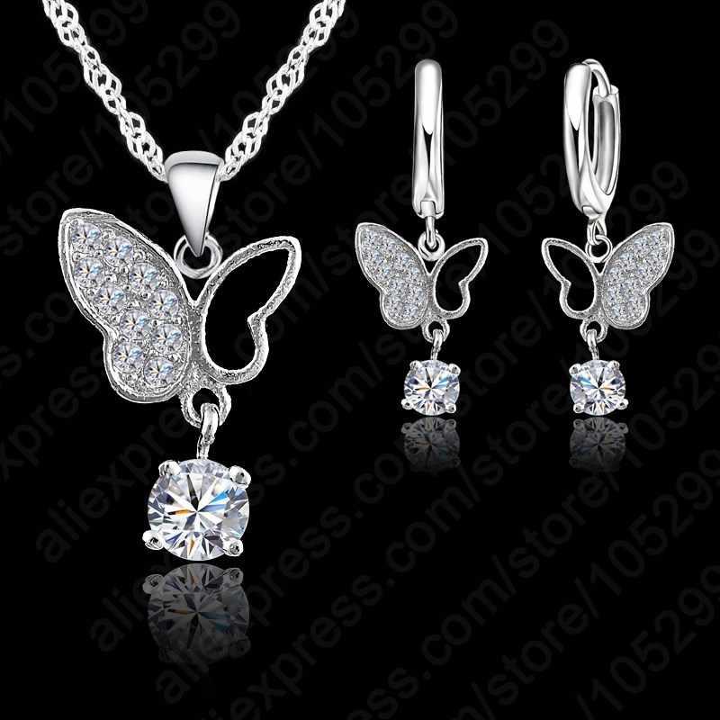 جديد مجوهرات الأزياء 925 فضة بيان فراشة الكريستال قلادة معلقة طقم مجوهرات شحن مجاني