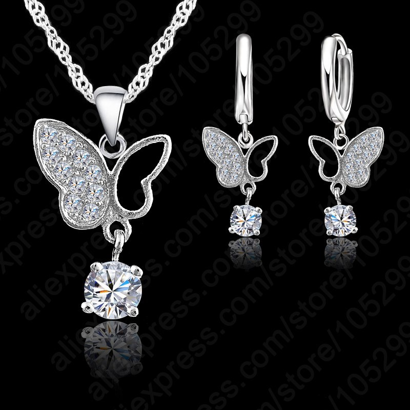 Jewelry 925 Sterling Silver Statement Butterfly Crystal Necklace Pendand Jewelry Set