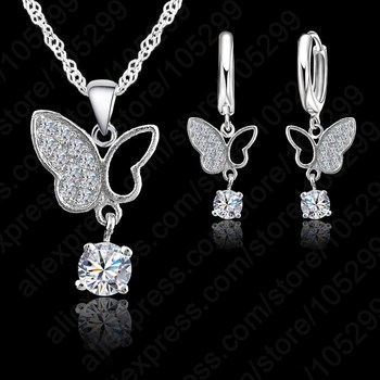 New Fashion Jewelry 925 Sterling Silver  Statement  Butterfly Crystal Necklace Pendand Jewelry Set Free Shipping