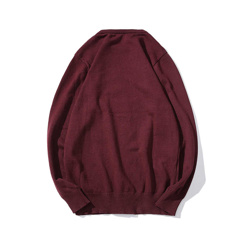 2019 herbst Casual männer Pullover aus Reiner baumwolle rote Oansatz Slim Fit Knittwear Männlichen Pullover Runde kragen Pullover Pullover Männer top