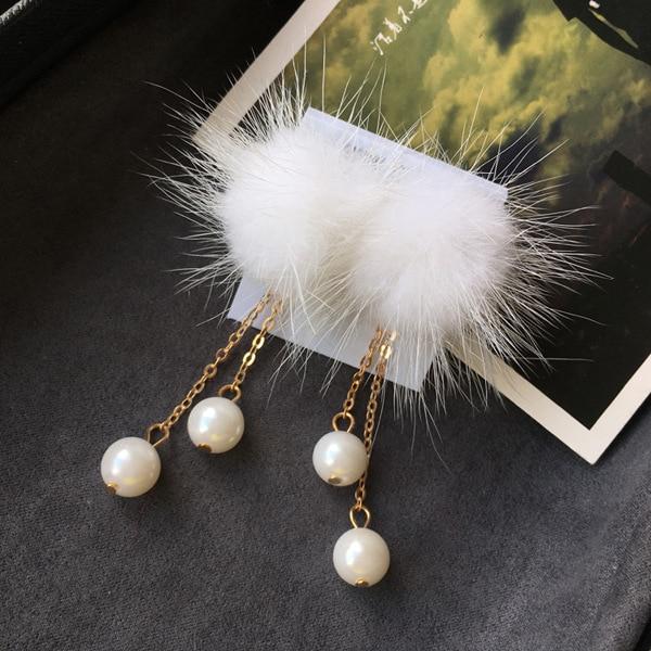 Мода осень и зима новый норки Падение Жемчужные Серьги милая ретро длинный двойной жемчужные серьги
