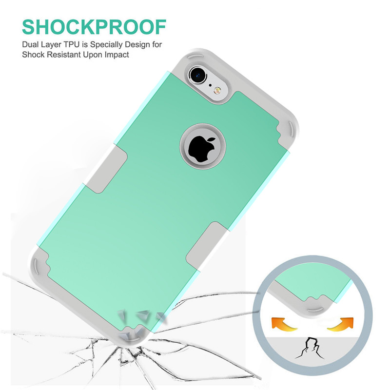 For iPhone7 Case Heavy Duty Hybrid Shockproof Armor Rugged Case For iPhone7Plus Cover Hard PC + Soft Rubber Silicone Phone Cases (23)